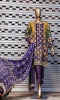 • Digital Print Jacquard Lawn Shirt. • Digital Printed Bamberg Shaffon Embroidered Dupatta. • Masuri Dyed Trouser.