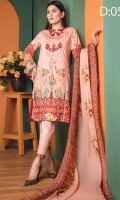 3 pcs unstitched digital printed and embroidered Lawn with digital printed & embroidered Silk dupatta