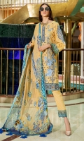 Digital Printed Embroidered Lawn Front 1.14 M Digital Printed Lawn Back 1.14 M Embroidered Patch For Front Daman 1 M Digital Printed Lawn Sleeves 0.67 M Sleeves Embroidered Patch 2 Pc Digital Printed Crinkle Chiffon Dupatta 2.5 M Dyed Cotton Trouser 2.5 M