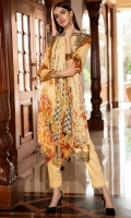 Digital Printed Embroidered Lawn Front 1.14 M Digital Printed Lawn Back 1.14 M Neckline Embroidered Patch 1 M Embroidered Patch For Front Daman 1 M Digital Printed Lawn Sleeves 0.67 M Digital Printed Crinkle Chiffon Dupatta 2.5 M Dyed Cotton Trouser 2.5 M
