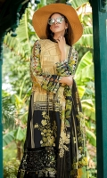 Digital Printed Embroidered Lawn Front 1.14 M Digital Printed Lawn Back 1.14 M Embroidered Patch A For Front Daman 1 M Embroidered Patch B For Front Daman 1 M Digital Printed Lawn Sleeves 0.67 M Digital Printed Crinkle Chiffon Dupatta 2.5 M Dyed Cotton Trouser 2.5 M
