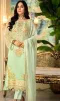 Embroidered Hand Embalished Crinkle Chiffon Front 1 M Dyed Crinkle Chiffon Back 1 M Embroidered Patch For Front 1 M Embroidered Crinkle Chiffon Sleeves 0.67 M Embroidered Crinkle Chiffon Dupatta 2.5 M Dyed Silk Trouser 2.5 M