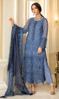 Embroidered Crinkle Chiffon Front 1 M Embroidered Crinkle Chiffon Back 1 M Embroidered Patch For Front & Back 2 M Embroidered Patch For Front 1 M Embroidered Crinkle Chiffon Sleeves 0.67 M Sleevs Embroidered Patch 1 M Embroidered Organza Dupatta 2.5 M Dyed Silk Trouser 2.5 M