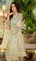 Embroidered Crinkle Chiffon Front 1 M Dyed Crinkle Chiffon Back 1 M Embroidered Patch For Front & Back 2 M Embroidered Crinkle Chiffon Sleeves 0.67 M Sleevs Embroidered Patch 1 M Embroidered Net Dupatta 2.5 M Dyed Silk Trouser 2.5 M