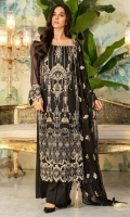 Embroidered Crinkle Chiffon Center Panel & Side Panel Front 1 M Embroidered Crinkle Chiffon Back 1 M Embroidered Patch A For Front & Back 2 M Dyed Crinkle Chiffon Sleeves 0.67 M Sleeves Embroidered Patch 1 M Embroidered Crinkle Chiffon Dupatta 2.5 M Dyed Silk Trouser 2.5 M