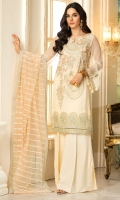 Embroidered Crinkle Chiffon Front 1 M Dyed Crinkle Chiffon Back 1 M Embroidered Patch A For Front & Back 2 M Embroidered Patch B For Front & Back 2 M Embroidered Crinkle Chiffon Sleeves 0.67 M Embroidered Net Dupatta 2.5 M Dyed Silk Trouser 2.5 M
