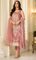 Embroidered Crinkle Chiffon Front 1 M Embroidered Crinkle Chiffon Back 1 M Embroidered Patch For Front & Back 2 M Embroidered Patch For Front 1 M Embroidered Crinkle Chiffon Sleeves 0.67 M Sleevs Embroidered Patch A 1 M Sleevs Embroidered Patch B 1 M Embroidered Crinkle Chiffon Dupatta 2.5 M Dupatta Embroidered Pallu Patch 4 Side Dyed Silk Trouser 2.5 M