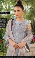 Embroidered Crinkle Chiffon Front 1 M Dyed Crinkle Chiffon Back 1 M Embroidered Patch A For Front & Back 2 M Embroidered Crinkle Chiffon Sleeves 0.67 M Embroidered Crinkle Chiffon Dupatta 2.5 M Dyed Silk Trouser 2.5 M