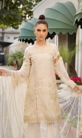 Embroidered Crinkle Chiffon Front 1 M Dyed Crinkle Chiffon Back 1 M Embroidered Patch For Front & Back 2 M Embroidered Neckline Patch 1 Pc Embroidered Crinkle Chiffon Sleeves 0.67 M Embroidered Net Dupatta 2.5 M Dyed Silk Trouser 2.5 M Embroidered Trouser Patch 1 M