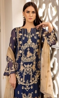 Embroidered Crinkle Chiffon Front 1 M Dyed Crinkle Chiffon Back 1 M Embroidered Patch For Front & Back 2 M Embroidered Crinkle Chiffon Sleeves 0.67 M Embroidered Crinkle Chiffon Dupatta 2.5 M Dyed Silk Trouser 2.5 M