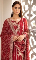 Embroidered Crinkle Chiffon Front 1 M Embroidered Crinkle Chiffon Back 1 M Embroidered Patch A For Front & Back 2 M Embroidered Patch B For Fornt 1 M Embroidered Crinkle Chiffon Sleeves 0.67 M Embroidered Patch For Sleeves 1 M Embroidered Crinkle Chiffon Dupatta 2.5 M Dyed Silk Trouser 2.5 M