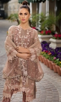 Embroidered Crinkle Chiffon Center Panel & Side Panel Front 1 M Dyed Crinkle Chiffon Back 1 M Embroidered Patch For Front & Back 2 M Embroidered Crinkle Chiffon Sleeves 0.67 M Embroidered Patch For Sleeves 1 M Embroidered Crinkle Chiffon Dupatta & Palu Patch 2.5 M Dyed Silk Trouser 2.5 M