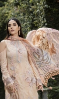 Embroidered Hand Embelished With 3D Flower Lawn Front 1 M Dyed Lawn Back 1 M Embroidered Patch For Front & Back Daman 2 M Embroidered Lawn Sleeves 0.67 M Sleeves Embroidered Patch 1 M Digital Printed Crinkle Chiffon Dupatta 2.5 M Dyed Cotton Trouser 2.5 M