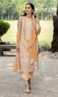 Embroidered Hand Embelished Lawn Front 1 M Dyed Lawn Back 1 M Embroidered Patch For Front & Back Daman 2 M Embroidered Lawn Sleeves 0.67 M Sleeves Embroidered Patch 1 M Embroidered Crinkle Chiffon Dupatta 2.5 M Embroidered Dupatta Pallu 2 Side Patti 2.5 M Dyed Cotton Trouser 2.5 M