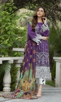 Embroidered Lawn Front 1 M Embroidered Lawn Back 1 M Embroidered Patch For Front Daman 1 M Embroidered Patch For Back Daman 1 M Dyed Lawn Sleeves 0.67 M Sleeves Embroidered Patch 1 M Digital Printed Tissue Silk Dupatta 2.5 M Dyed Cotton Trouser 2.5 M