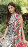 Embroidered Lawn Front 1 M Dyed Lawn Back 1 M Embroidered Kawia Patch For Front Daman 1 M Dyed Lawn Sleeves 0.67 M Digital Printed Embroidered Crinkle Chiffon Dupatta 2.5 M Dyed Cotton Trouser 2.5 M Trouser Embroidered Patch 1 M