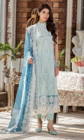 Embroidered Lawn Front 1 M Dyed Lawn Back 1 M Embroidered Patch For Daman Front & Back 2 M Embroidered Lawn Sleeves 0.67 M Sleeves Embroidered Patch A 1 M Sleeves Embroidered Patch B 1 M Embroidered Crinkle Chiffon Dupatta 2.5 M Dyed Cotton Trouser 2.5 M