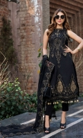 Embroidered Lawn Front 1 M Embroidered Lawn Back 1 M Neckline Embroidered Hand Embellished Patch 1 Pc Embroidered Patch For Daman Front & Back 2 M Dyed Lawn Sleeves 0.67 M Sleeves Embroidered Patch A 1 M Sleeves Embroidered Patch B 1 M Embroidered Crinkle Chiffon Dupatta 2.5 M Dyed Cotton Trouser 2.5 M