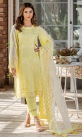 Embroidered Lawn Front 1 M Embroidered Lawn Back 1 M Embroidered Patch For Daman Front 1 M Embroidered Lawn Sleeves 0.67 M Sleeves Embroidered Kawia Patch 2 M Embroidered Organza Dupatta 2.5 M Dyed Cotton Trouser 2.5 M