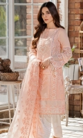Embroidered Lawn Center Panel & Side Panel Front 1 M Embroidered Lawn Back 1 M Neckline Hand Embellished Patch 1Pc Embroidered Patch For Daman Front & Back 2 M Dyed Lawn sleeves 0.67 M Sleeves Embroidered Patch 2 M Embroidered Hand Woven Net Dupatta 2.5 M Dyed Cotton Trouser 2.5 M