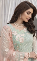 Embroidered Hand Embellished Pure Crinkle Chiffon Front 1 M Pure Crinkle Chiffon Back 1 M Hand Embellished Patch A For Front 1 Pc Embroidered Patch B For Daman Front & Back 2 M Neckline Hand Embellished Patch 1 Pc Embroidered Pure Crinkle Chiffon Sleeves 0.67 M Embroidered Net Dupatta 2.5 M  Dyed Silk Trouser 2.5 M Dyed Shirt Lining 1.5 M