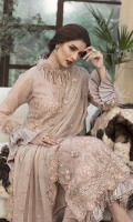 Embroidered Pure Crinkle Chiffon Front 1 M Pure Crinkle Chiffon Back 1 M Embroidered Patch A For Daman Front & Back 2 M Embroidered Patch B For Daman Front & Back 2 M Neckline Embroidered Patch 1 Pc Embroidered Pure Crinkle Chiffon Sleeves 0.67 M Sleeves Embroidered Patch 1 M Sleeves Embroidered Patch 2 Pc Embroidered Pure Crinkle Chiffon Dupatta 2.5 M Dyed Silk Trouser 2.5 M Dyed Shirt Lining 1.5 M