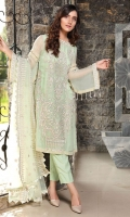 Embroidered Crinkle Chiffon Front 1 M Crinkle Chiffon Back 1 M Embroidered Patch For Front 1 M Embroidered Crinkle Chiffon Sleeves 0.67 M Sleevs Embroidered Patch 1 M Embroidered Net Dupatta 2.5 M Dyed Silk Trouser 2.5 M