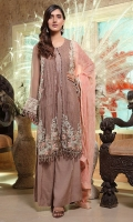 Embroidered Crinkle Chiffon Front 1 M Crinkle Chiffon Back 1 M Embroidered Neckline Patch 1 Pc Embroidered Patch For Back Daman 1 M Crinkle Chiffon Sleeves 0.67 M Sleevs Embroidered Patch 1 M Embroidered Crinkle Chiffon Dupatta 2.5 M Dyed Silk Trouser 2.5 M
