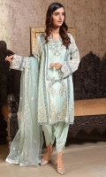 Embroidered Crinkle Chiffon Center Panel & Side Panel Front 1 M Crinkle Chiffon Back 1 M Embroidered Crinkle Chiffon Sleeves 0.67 M Sleeves Embroidered Patch 2 M Embroidered Net Dupatta 2.5 M Dyed Silk Trouser 2.5 M