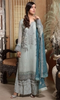 Embroidered Crinkle Chiffon Front 1 M Crinkle Chiffon Back 1 M Embroidered Patch A For Front & Back 2 M Embroidered Patch B For Front & Back 2 M Embroidered Crinkle Chiffon Sleeves 0.67 M Sleevs Embroidered Patch A 1 M Sleevs Embroidered Patch B 1 M Embroidered Crinkle Chiffon Dupatta 2.5 M Embroidered Silk Trouser 2.5 M