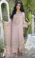 Embroidered Crinkle Chiffon Front 1 M Crinkle Chiffon Back 1 M Embroidered Neckline Patch 1 Pc Embroidered Patch For Front & Back 2 M Embroidered Crinkle Chiffon Sleeves 0.67 M Embroidered Net Dupatta 2.5 M Dyed Silk Trouser 2.5 M