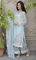 Embroidered Crinkle Chiffon Front 1 M Crinkle Chiffon Back 1 M Embroidered Crinkle Chiffon Sleeves 0.67 M Embroidered Crinkle Chiffon Dupatta 2.5 M Dyed Silk Trouser 2.5 M Embroidered Trouser Patch 2 M