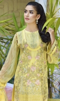 Embroidered Crinkle Chiffon Front 1 M Crinkle Chiffon Back 1 M Embroidered Patch For Front & Back 2 M Embroidered Crinkle Chiffon Sleeves 0.67 M Embroidered Crinkle Chiffon Dupatta 2.5 M Dyed Silk Trouser 2.5 M