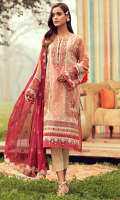 Embroidered Lawn Front 1.14 M Embroidered Lawn Back 1.14 M Embroidered Neckline Patch 1 Pc Embroidered Patch A For Front Daman 0.92 M Embroidered Patch B For Front Daman 0.92 M Dyed Patch For Front Daman 0.20 M Embroidered Lawn Sleeves 0.67 M Embroidered Sleeves Patch A 1.00 M Embroidered Sleeves Patch B 1.00 M Embroidered Crinkle Chiffon Dupatta 2.50 M Dyed Cotton Trouser 2.50 M