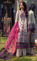 Schiffli Embroidered Lawn Front 1.00 M Dyed Lawn Back 1.14 M Embroidered Neckline Patch 1 Pc Embroidered Patch A For Front Daman 0.92 M Schiffli Embroidered Patch B For Front Daman 0.94 M Dyed Lawn Sleeves 0.67 M Embroidered Sleeves Patch A 1.10 M Schiffli Embroidered Sleeves Patch B 1.10 M Embroidered Organza Dupatta With Pallu Patch 2.50 M Dyed Cotton Trouser 2.50 M