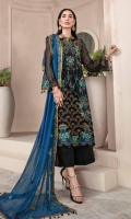 Embroidered Crinkle Chiffon Front 1 M Embroidered Crinkle Chiffon Back 1 M Embroidered Patch For Daman Front & Back 2 M Embroidered Crinkle Chiffon Sleeves 0.67 M Embroidered Crinkle Chiffon Dupatta 2.5 M Dyed Silk Trouser 2.5 M Trouser Embroidered Patch 2 M