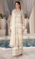 Embroidered Crinkle Chiffon Front 1 M Embroidered Crinkle Chiffon Back 1 M Neckline Embroidered Patch 1 Pc Embroidered Patch For Daman Front 1 M Embroidered Patch For Daman Back 2 M Embroidered Crinkle Chiffon Sleeves 0.67 M Embroidered Crinkle Chiffon Dupatta 2.5 M Dupatta Embroidered Pallu Patch 2 Side Dyed Silk Trouser 2.5 M Trouser Embroidered Patch 2 M