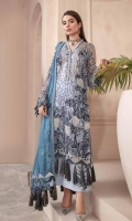Embroidered Crinkle Chiffon Front 1 M Embroidered Crinkle Chiffon Back 1 M Neckline Embroidered Patch A 1 M Neckline Embroidered Patch B 1 M Embroidered Patch For Daman Front 1 M Embroidered Crinkle Chiffon Sleeves 0.67 M Sleeves Embroiderd Patch 1 M Embroidered Crinkle Chiffon Dupatta 2.5 M Dupatta Embroidered Pallu Patch 2 Side Dyed Silk Trouser 2.5 M Trouser Embroidered Patch 2 Pc