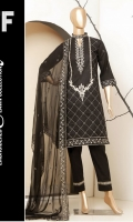 - SHIRT: EMBROIDERED LAWN SHIRT.  - DUPATTA: BAMBER CHIFFON EMBROIDERED DUPATTA.  - TROUSER: PLAIN DYED TROUSER.