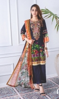 1) All Designs with Super Fine Printed & Embroidered Lawn Shirt. 2) All Designs with Printed Chiffon Dupatta. 3) All Designs with Plain Dyed Trouser