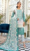 Lawn Printed Front  Lawn Printed Back  Lawn Printed Sleeves  Check Embroidered Organza Dupatta  Damn Border Patch  Sleeve Patch  Neck Patch  Plain Cotton Trouser