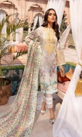 Lawn Printed Front  Lawn Printed Back  Lawn Printed Sleeves  Chiffon Embroidered Dupatta  Damn Border Patch  Sleeve Border Patch  Cuff Border Patch  Neck Patch  Plain Cotton Trouser