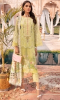 Chikan Kari Lawn Front Printed Lawn Back Printed Lawn Sleeves Organza Embroidered Sleeves Pure Silk Printed Dupatta Neck Patch Damn Border Patch Trouser Border Patch Plain Cotton Trouser