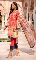 Chikan Kari Lawn Front  Lawn Printed Back  Lawn Printed Sleeves  Organza Embroidered Sleeves  Pure Silk Printed Dupatta  Damn Border Patch  Back Border Patch  Plain Cotton Trouser