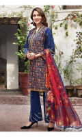 Lawn Embroidered Shirt  Lawn Embroidered Sleeves Patti  Digital Printed Chiffon Duppata  Dyed Trouser