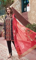 Lawn Embroidered Shirt  Lawn Embroidered Sleeves Patti  Digital Printed Chiffon Dupatta  Dyed Trouser
