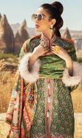 -Embroidered karandi front -Dyed karandi back -Embroidered karandi sleeves -Embroidered patti on silk for finishing -Embroidered border on silk for front -Handmade tassels for front -Karandi dyed trouser -Karandi digital printed shawl