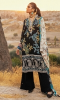 -Embroidered linen front -Digital printed linen back -Digital printed linen sleeves -Embroidered border on linen for front -Embroidered finishing lace for neckline -Finishing croshette lace -Linen dyed trouser -Linen digital printed shawl