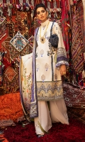 -Embroidered karandi front -Digital printed karandi back -Digital printed karandi sleeves -Embroidered border on silk for front -Hand made fancy tassels -Thread tassels for front motifs -Karandi dyed trouser -Karandi digital printed shawl