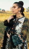 -Digital printed and chikan embroidered khaddar front -Digital printed khaddar back -Digital printed khaddar sleeves -Embroidered lace for trousers -Embroidered lace for sleeves -Finishing croshette lace -Khaddar dyed trouser -Khaddar digital printed shawl